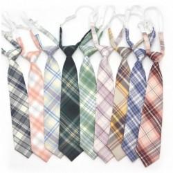 Divat női alkalmi állítható újdonság gumi egyenruha nyakkendő pamut fiú lány vékony kockás nyakkendő JK kockás