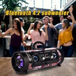 Hordozható Bluetooth hangszóró vezeték nélküli basszus oszlop vízálló kültéri hangszóró  AUX TF USB mélynyomó
