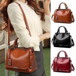 Női divat nagy kapacitású puha bőr válltáska kézitáska egyszerű egyszínű crossbody táska