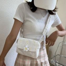 Női fehér nagy kapacitású virágvászon válltáska sokoldalú kis százszorszép messenger táska