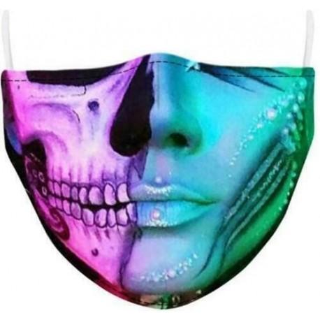 Design-5 - Férfi újrafelhasználható unisex vicces mosható arcmaszk fél arc száj Mark HipHop rajzfilm