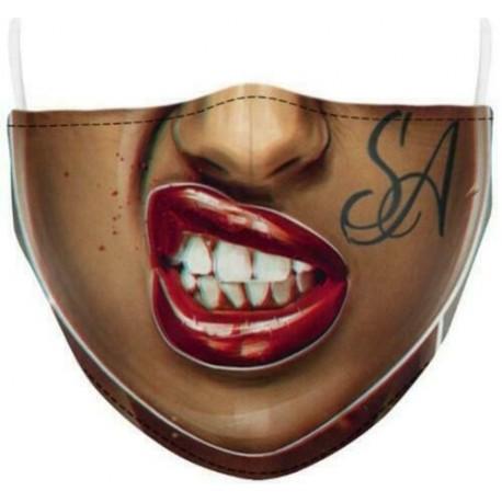 Design-60 - Férfi újrafelhasználható unisex vicces mosható arcmaszk fél arc száj Mark HipHop rajzfilm
