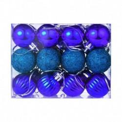kék - 24X Glitter Xmas Tree Hanger Baubles díszgömbök karácsonyi dekoráció törésálló