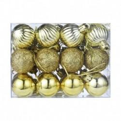 Arany - 24X Glitter Xmas Tree Hanger Baubles díszgömbök karácsonyi dekoráció törésálló