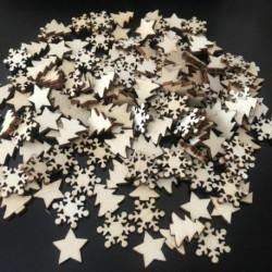 Nincs szín - 50db karácsonyi természetes fa forgácsfa díszek karácsony függő medál dekor ajándék