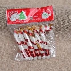 Piros - 12db karácsonyfa cukorka nád függő dísz dekoráció karácsonyi party dekoráció