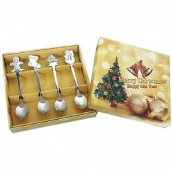 B - 4db rozsdamentes teáskanál gyerek kanál étkészlet karácsonyi kávéskanál karácsonyi ajándék