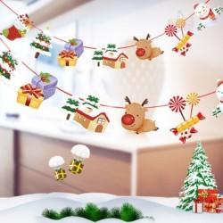 Ház - Több stílusú karácsonyi függő banner karácsonyi party Mikulás jávorszarvas zokni dekoráció 2020