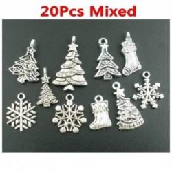 20db - Nagykereskedelmi 50db ömlesztett sok ezüst karácsonyi motívum varázsa medálok ajándék