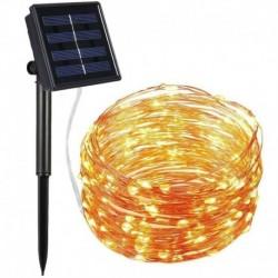 Nincs szín - 100LED 10M Solar kültéri húr kötéllámpák rézdrót tündér karácsonyi dekoráció meleg