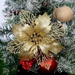 Arany - 10x karácsonyi Mikulásvirág csillogó virágfa függő karácsonyi party dekorációs ajándék