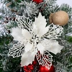 fehér - 10x karácsonyi Mikulásvirág csillogó virágfa függő karácsonyi party dekorációs ajándék