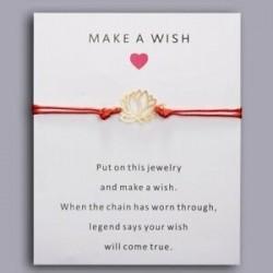 Üreges lótusz - Szerencsés piros kötél varázskártya karkötők karperec pár kézzel készített barátság karácsonyi