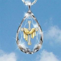 Aranykereszt - Divatkereszt 925 ezüst arany nyaklánc medál fehér zafír ékszer ajándék karácsony