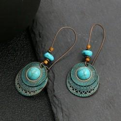 * 25 - Vintage Boho etnikai bojt fülbevalók türkiz gyöngyökkel horog női füllengő ajándék