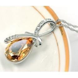 Sárga (könnycsepp) - Női divat ezüst lánc kristály strassz medál nyaklánc ékszer ajándék