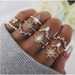 10db / arany készlet @ - 20db Boho verem sima felett csülök gyűrű Midi ujjhegy gyűrűk készlet ezüst / arany
