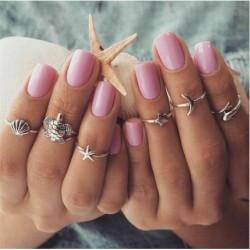 6db / Set Silver * 2 - 20db Boho verem sima felett csülök gyűrű Midi ujjhegy gyűrűk készlet ezüst / arany