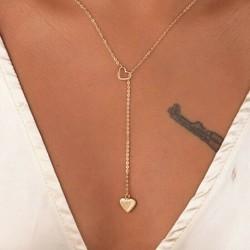 * 168 Arany szerelmes szív hosszú függőben ... - Többrétegű női női ötvözet kulcscsont choker nyaklánc bűbáj lánc