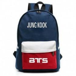Kék-JUNG KOOK - Bangtan Boys JUNG KOOK V JIMIN hátizsák válltáska iskolai könyvtáska vászon