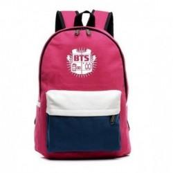 Rózsaszín-Fehér hátitáska - BTS logóval - KPOP - BTS - Bangtan Boys
