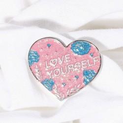 LOVE YOURSELF szív alakú zománc kitűző - KPOP - BTS - Bangtan Boys