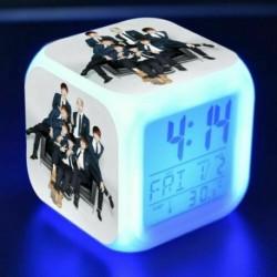 BTS csoportképes - Színváltós LED ébresztőóra naptárral és hőmérővel - KPOP - BTS - Bangtan Boys - 4