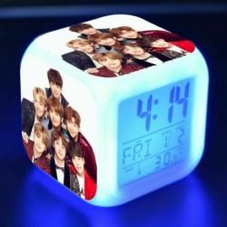BTS csoportképes - Színváltós LED ébresztőóra naptárral és hőmérővel - KPOP - BTS - Bangtan Boys - 3