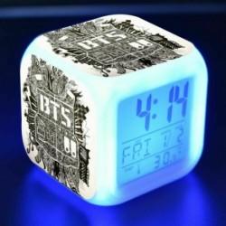BTS logós - Színváltós LED ébresztőóra naptárral és hőmérővel - KPOP - BTS - Bangtan Boys - 8