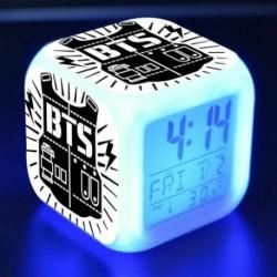 BTS logós - Színváltós LED ébresztőóra naptárral és hőmérővel - KPOP - BTS - Bangtan Boys - 5