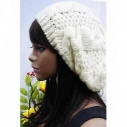 fehér - Divatos nők Beret fonott táskás kötött horgolt Beanie Hat sísapka téli meleg sapka