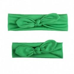 Zöld - 2db Anya és gyerek kislány elasztikus íj csomózású turbán hajszalag fejpánt