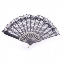 Schwarz - Dame Eleganter kínai kinézet Flgel-Chun-Art-Tanzen-faltender Spitze-Handfächer