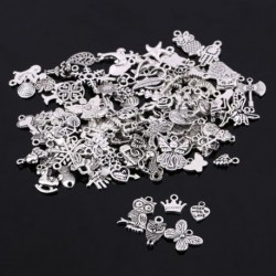 Nincs szín - 100db / tétel tibeti ezüst keverék medál medálok ékszer kézműves készítésű barkácsolás