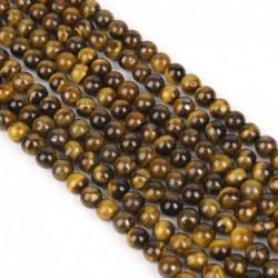 8mm (kb. 48db) - 15 &quot természetes tigrisszem drágakő laza kerek távtartó gyöngyök 4/8/10/12 mm-es tétel