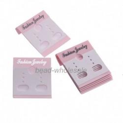 Rózsaszín - 100db egyszerű sima függő fülbevaló kijelzőkártya eladó a legjobb fülbevalók számára