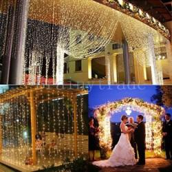 Nincs szín - 10M 100LED karácsonyi karácsony húr tündér esküvői barkács függönylámpák meleg fehér