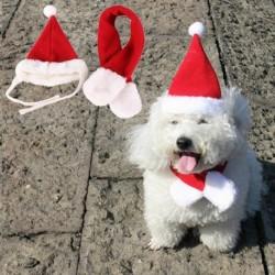 KICSI - 2 darabos, kedvtelésből tartott macskakutyás Mikulás sapka és sál karácsony ünnepi jelmez