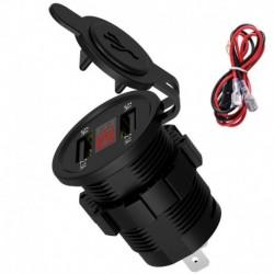 Vörös számjegy - 12V autós szivargyújtó aljzat 4.2A kettős USB port LED töltő tápegység 24V