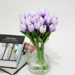 Világos lila - 10db mesterséges hamis virágcsokor tulipán házi menyasszonyi esküvői selyem dekoráció