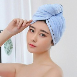Kék - Mikroszálas gyorsan száradó törölköző varázslatos hajszárító fürdő Turbán Twist hajpakolás sapka