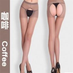 Kávé - Női divat szexi nyitott lágyék lágyék nélküli harisnyanadrág harisnya