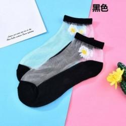 Fekete - Női százszorszép virág csipke zokni átlátszó vékony kristály selyem rövid bokazokni USA