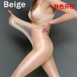 Bőrszín (nyitott króm) - Női magasfényű harisnyanadrág, elasztikus olaj, fényes harisnyanadrág, plusz méretű