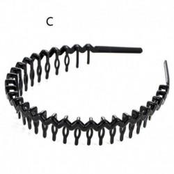 C - Fekete fém drót fogazott fésűs futball sport hullám Alice stílusú hajpánt fejpánt