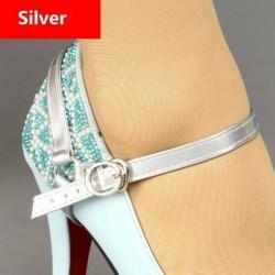 Ezüst - Állítható levehető PU bőr cipőszíjak, amelyek laza, magas sarkú cipőt tartanak