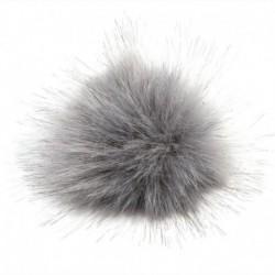 szürke - 11 cm-es nagyméretű mosómedve szőrme Pom Pom labda nyomógombbal a kötött sapka barkácsolásához