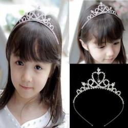 Nincs szín - Strassz kölyök Tiara haj zenekar lány menyasszonyi esküvői hercegnő bál korona fejpánt