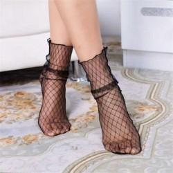 12. - Vintage női fodros íj necc boka magas zokni háló csipke hal háló rövid zokni