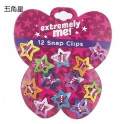 Csillag-12db - 12db-os gyerekkorlátos lányok BB-klipje aszimptotikus színű hajkapocs tartozékok ajándék